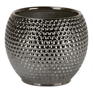 Cache-pot rond texturé – Platinum Silver