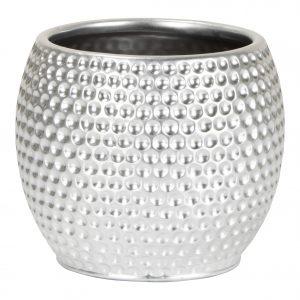 Cache-pot rond texturé – Titanium Silver