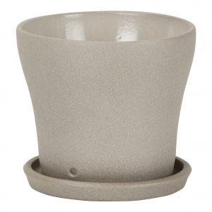 Pot avec soucoupe céramique Taupe Stone