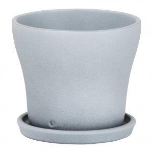 Pot avec soucoupe céramique Grey Stone