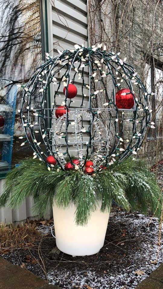 Décoration de Noël en pot avec lumières