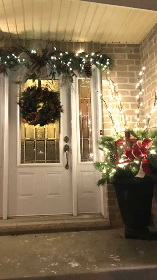 Décorations de Noël en pot illuminées