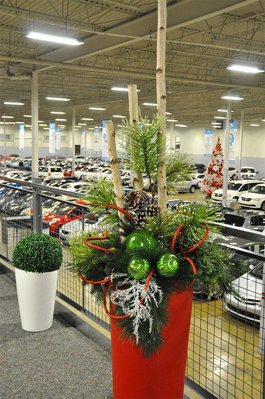 Décor de Noël en pot pour commerce