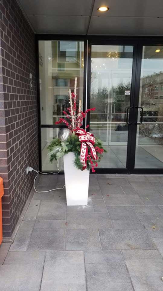 Pot d'hiver pour décorer l'entrée d'un commerce