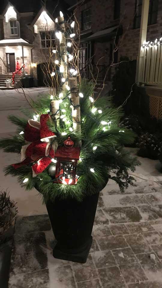 Décoration de Noël illuminée en pot